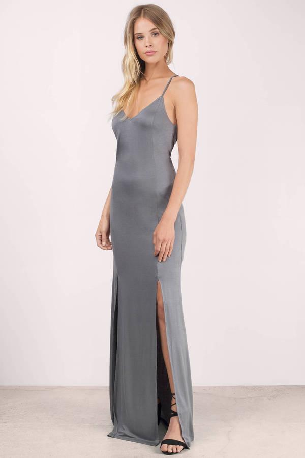 Cute Grey Dress - Side Slit Dress - Pewter Long Dress - Maxi Dress ...
