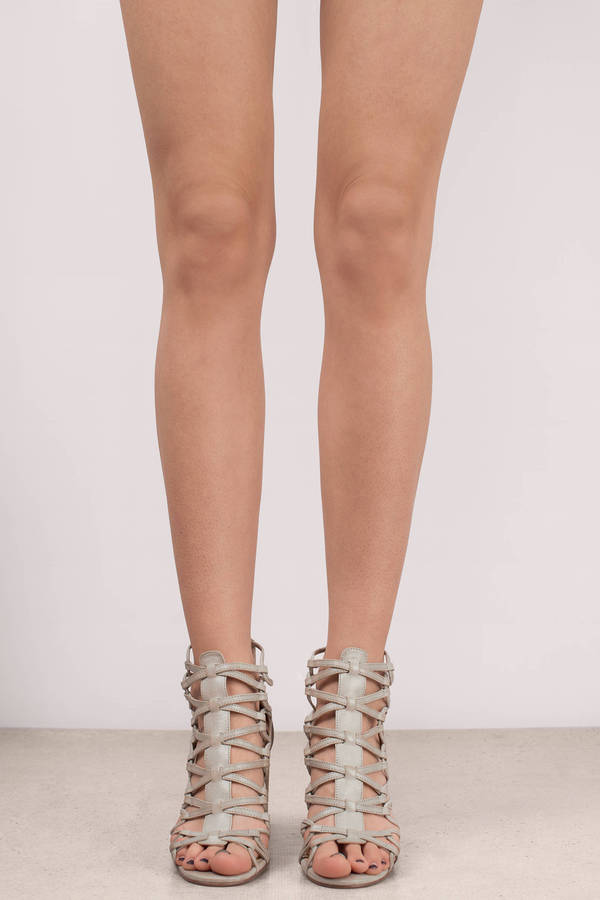 83085ef212 Grey Chinese Laundry Heels - Elegant Caged Heels - Grey Leather ...