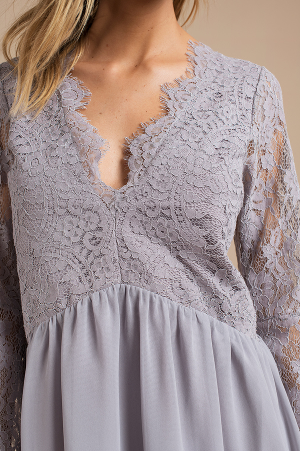 Blue grey lace dress