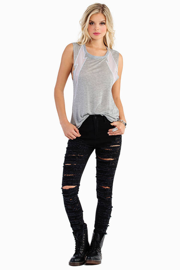 Double Electric Mesh Tank Top