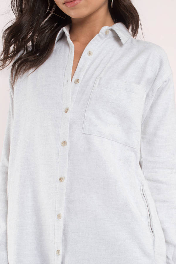 Thread & Supply Location Heather Grey Button Down Shirt - $54 | Tobi
