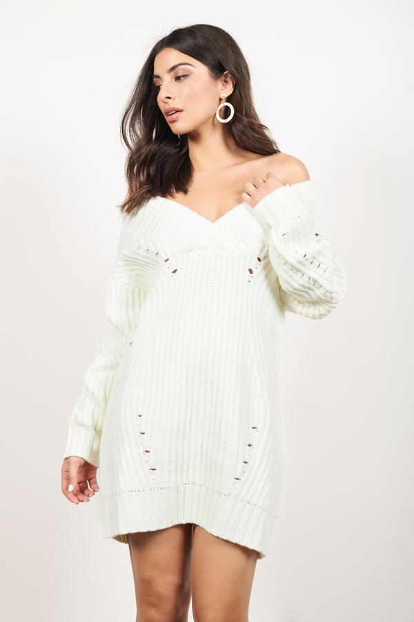 50627fe2f36 Alise Ivory Chunky Knit Sweater Dress Alise Ivory Chunky Knit Sweater Dress  ...