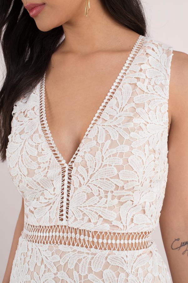 White Dresses For Women - White Maxi Dress- White Lace Dress - Tobi