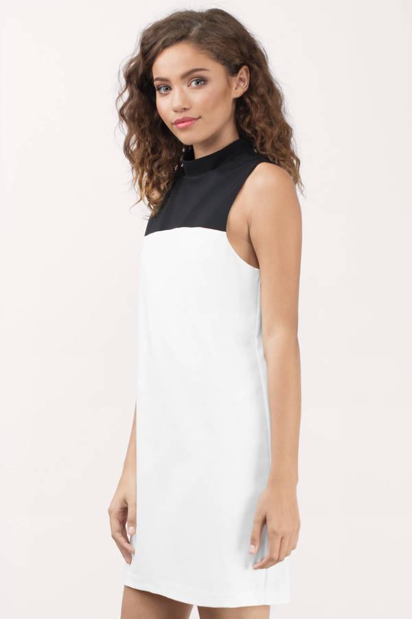 Ivory Black Dress White Dress Sleeveless Dress Shift Dress