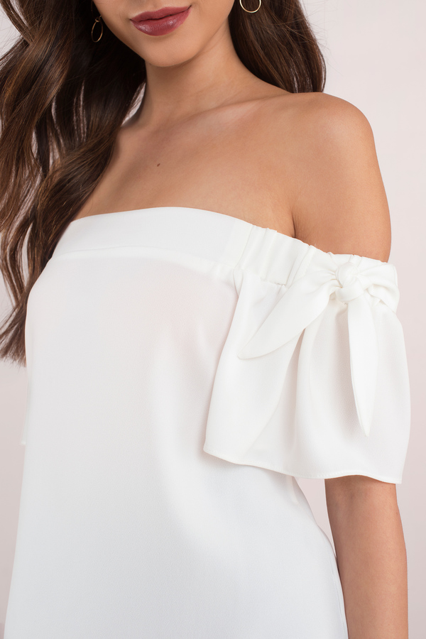 4768c2e1ff207 White Going Out Top - Off Shoulder Top - Basic Top - £6   Tobi GB