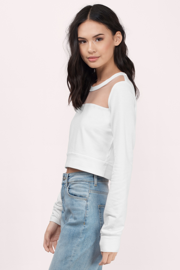 Trendy Ivory Sweater - Cropped Sweater - Ivory Hoodie - £7 | Tobi GB