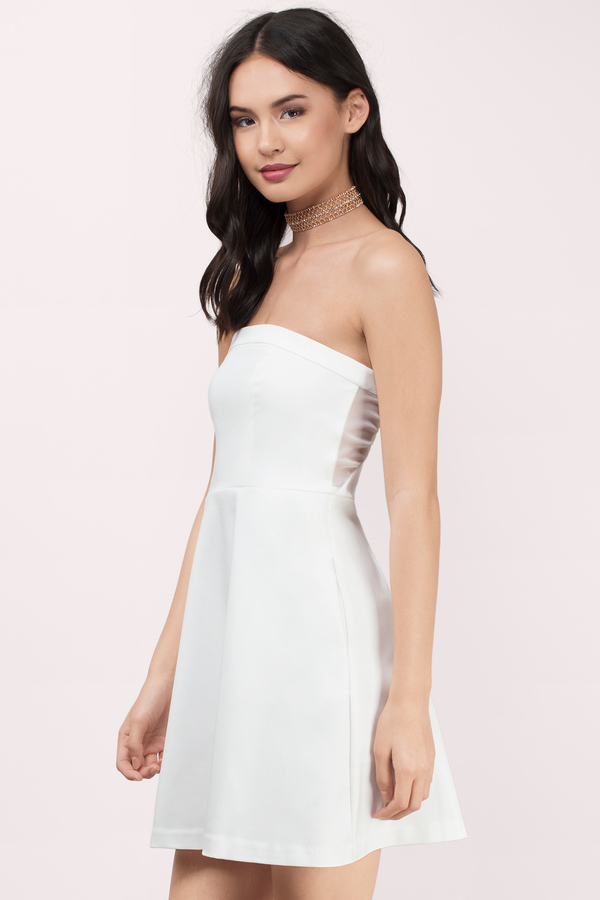 Cute Ivory Skater Dress - Strapless Dress - $12.00
