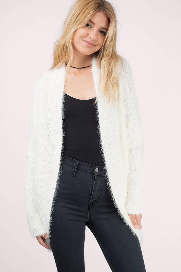 Ivory Cardigan - White Cardigan - Fuzzy Cardigan - Ivory Sweater ...
