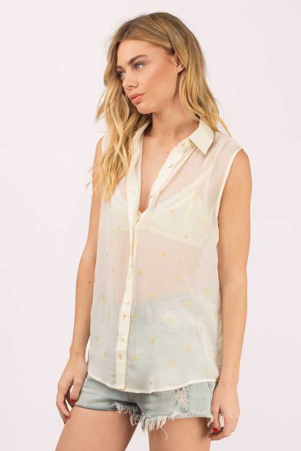 Like A Prayer Button Front Blouse