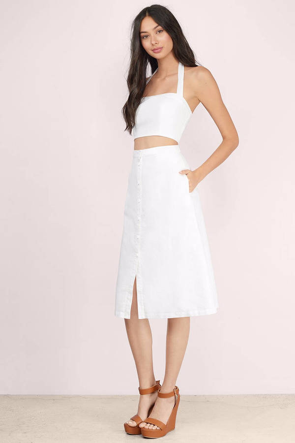 Trendy Ivory Skirt - White Skirt - High Waisted Skirt - Ivory ...