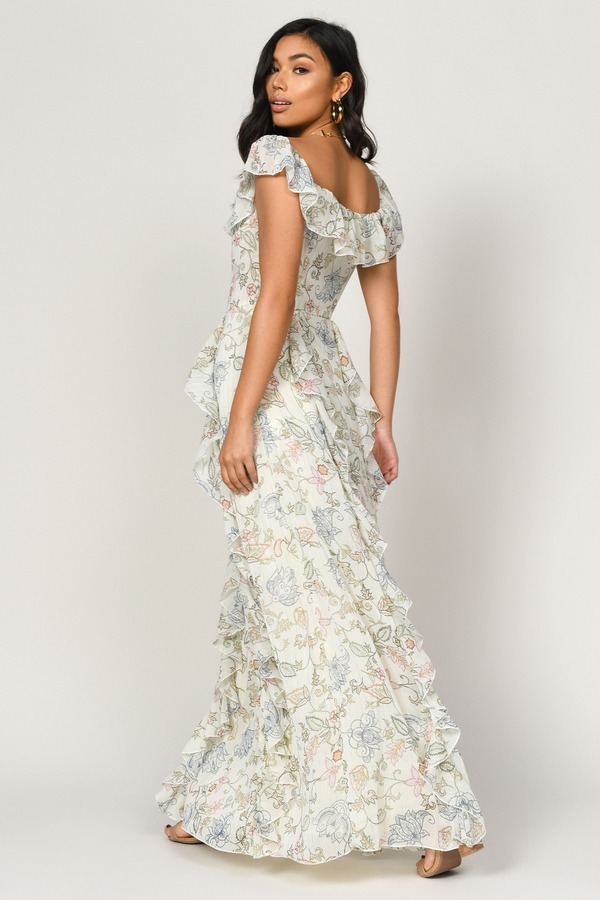 92afa62503 ... Tobi Off The Shoulder Dresses, Ivory Multi, Layna Off Shoulder Ruffle  Maxi Dress, Tobi