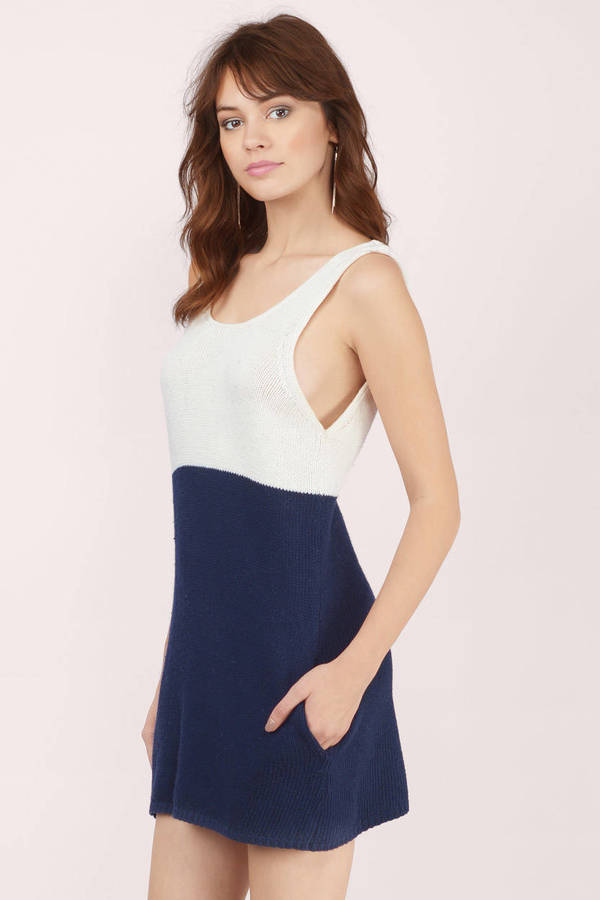 Ivory & Navy Day Dress - White Dress - Sweater Dress - $12.00