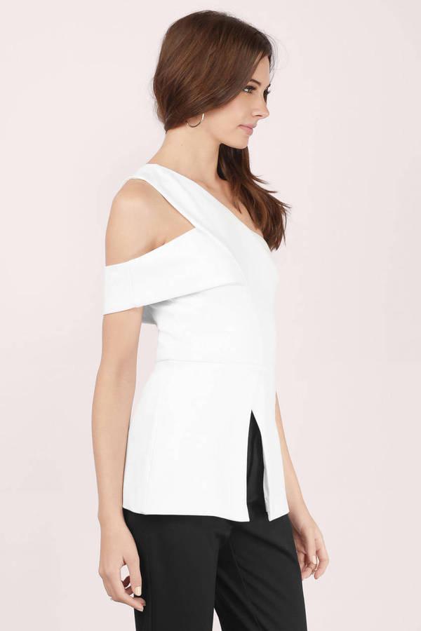 f01d248e5a03ea Trendy Ivory Blouse - Cold Shoulder Blouse - Ivory Blouse - € 24 ...