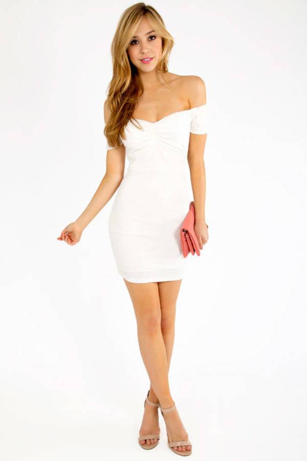 Pucker Off Shoulder Dress