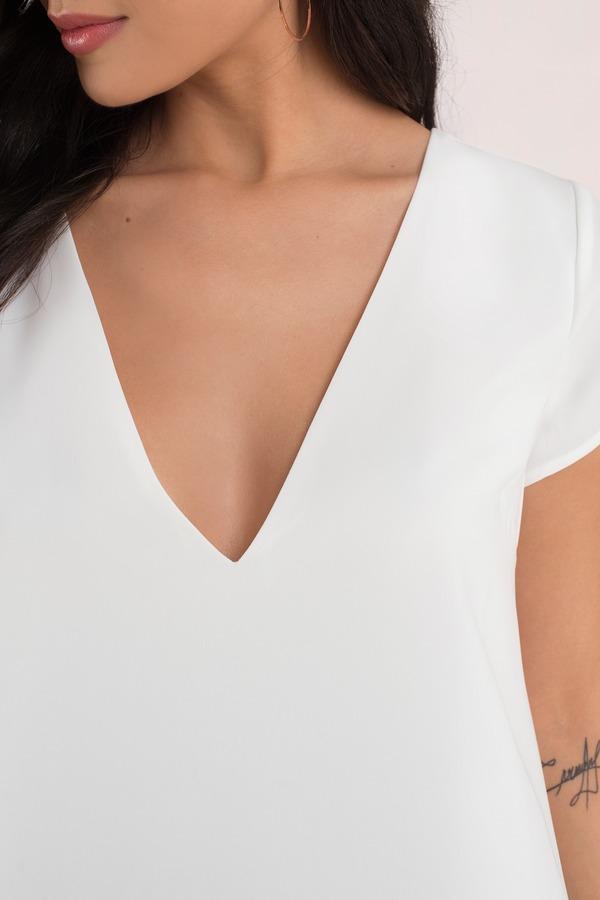 Cute Ivory Shift Dress - V Neck Dress - White Dress - Shift Dress ...