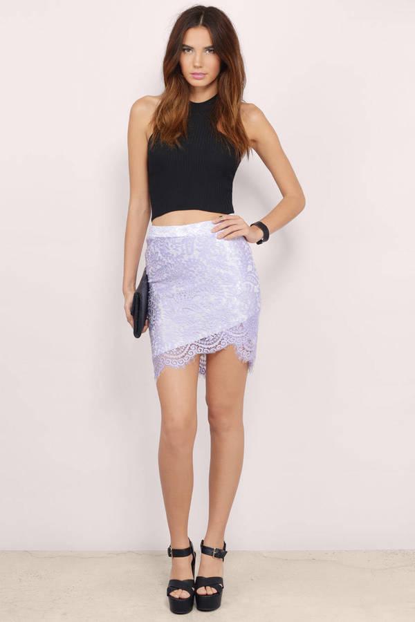 Trendy Lavender Skirt - Purple Skirt - Lace Skirt - $10.00