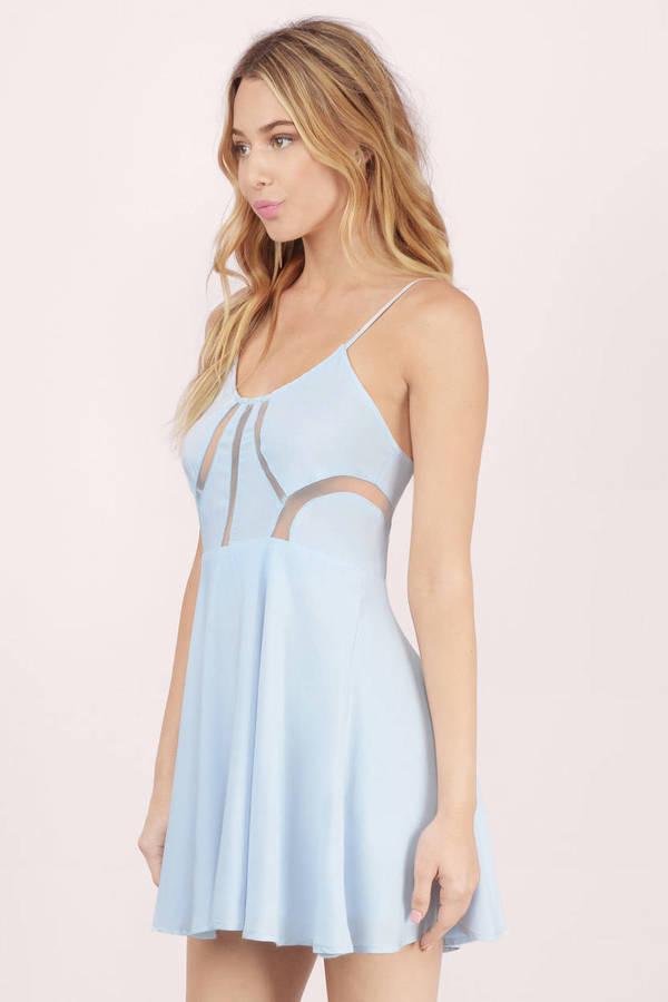 Trendy Light Blue Skater Dress - Mesh Trim Dress - $12.00