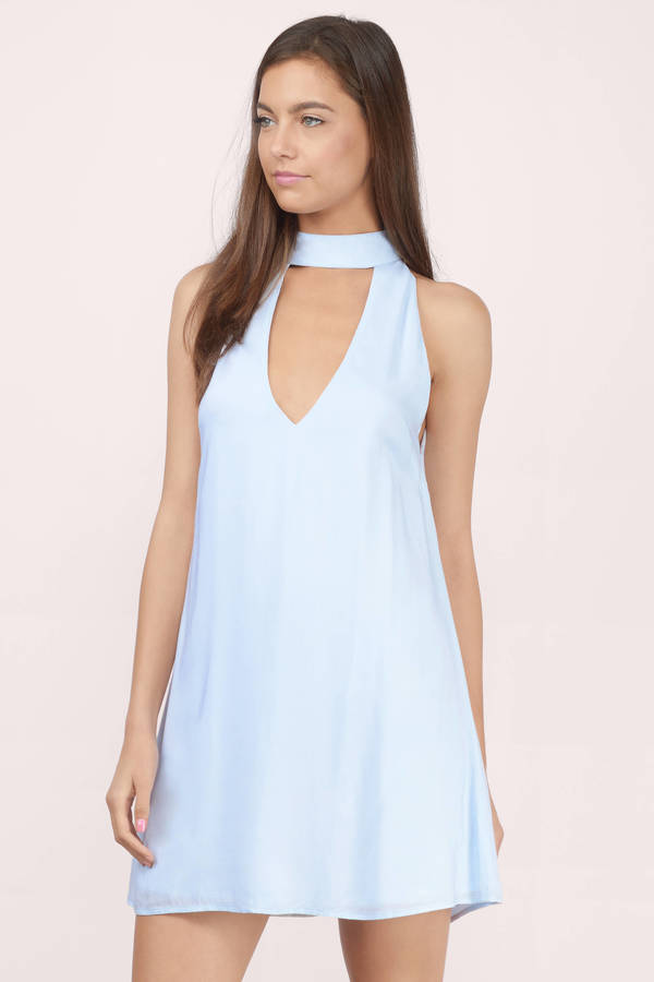 Cute Light Blue Shift Dress Open Front Dress Shift Dress 13