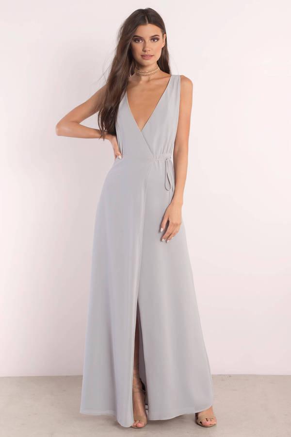 Lovely Light Blue Maxi Dress Plunging Dress Maxi Dress