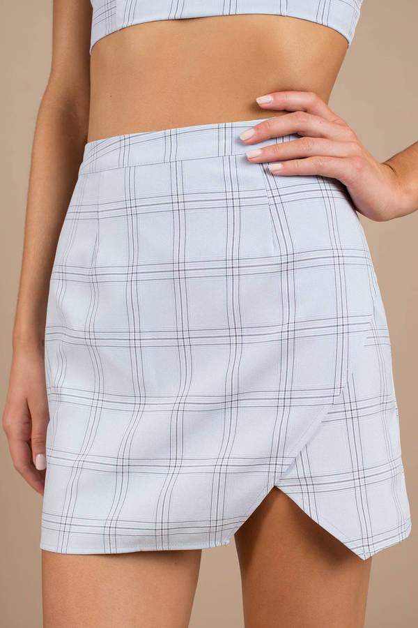 Blue Skirt Plaid Slit Skirt Blue High Waist Mini Skirt 25