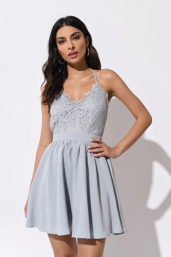 97f0e393ba Chic Blue Skater Dress - Lace Bodice Dress - Crisscross Back Dress ...