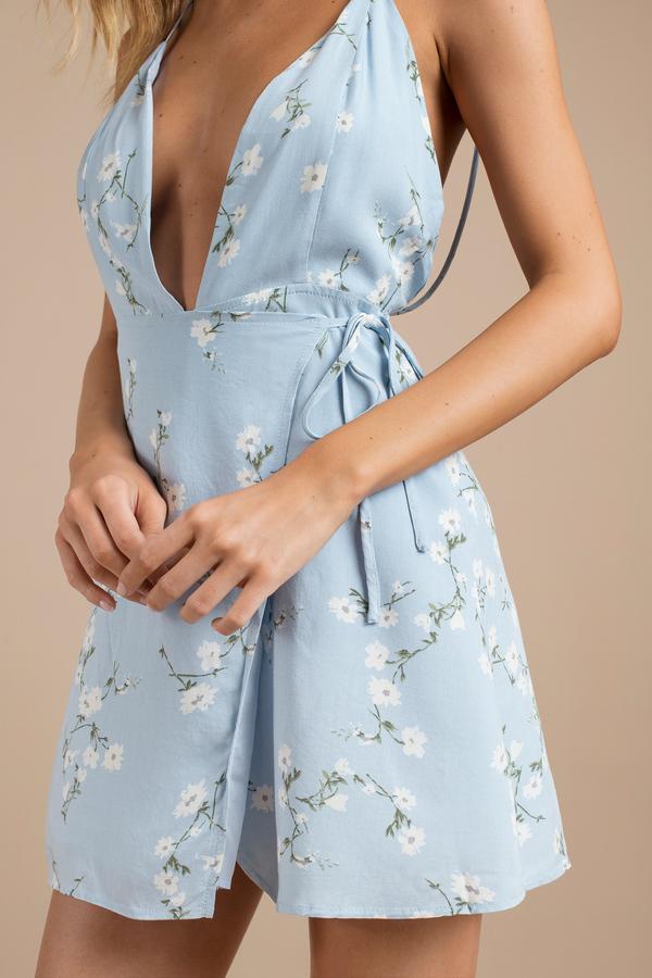 Cute Light Blue Dress - Floral Sleeveless Dress - Blue Shift Dress ...