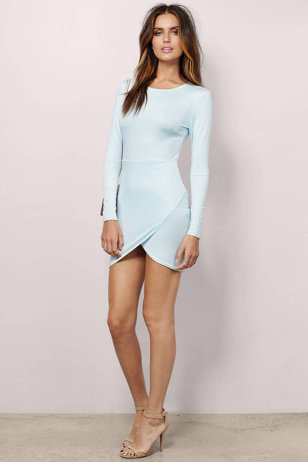 9ca51b3620 Light Blue Dress - Long Sleeve Dress - Beautiful Light Blue Dress ...