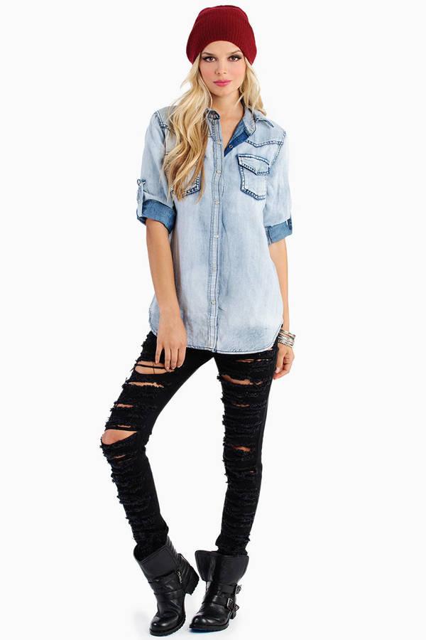 Britney Bleached Denim Shirt