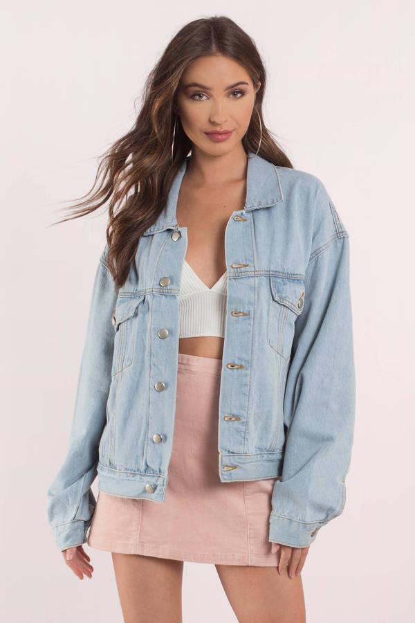 Cute Light Wash Jacket Oversized Denim Jacket Blue
