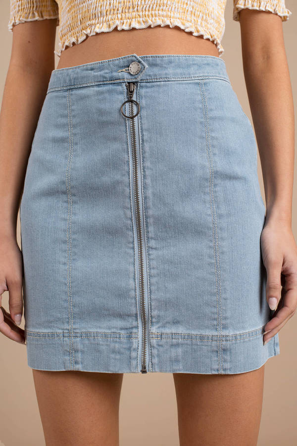 e99221eb38 ... The Fifth Label The Fifth Label Day Dreaming Light Wash O-Ring Denim  Skirt ...