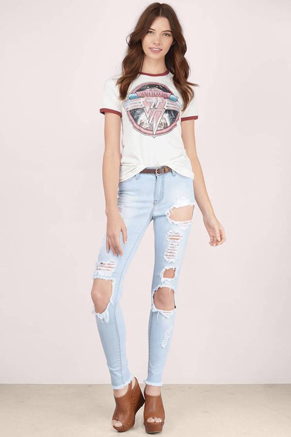 Light Wash Denim Jeans Blue Jeans Skinny Jeans Light