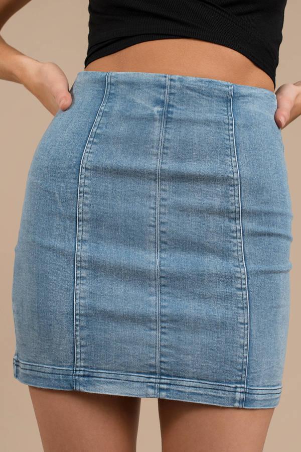8012219d47a Blue Skirt - High Waisted Skirt - Blue Denim Skirt - Bodycon Skirt ...