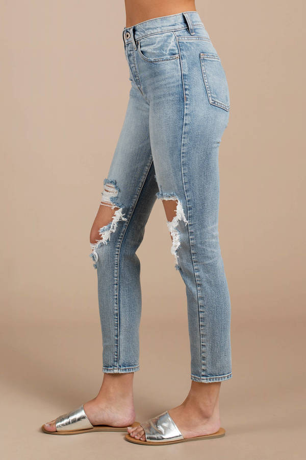 High Rise Mom Fit Cotton Denim Jeans