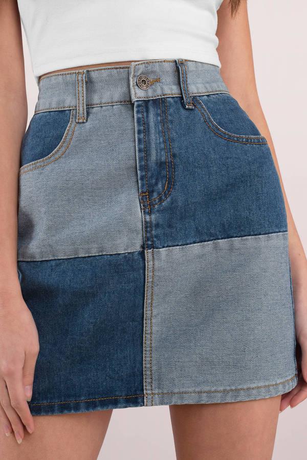 Trendy Blue Denim Skirt Color Block Skirt Blue Cotton