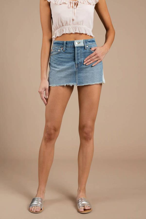 364bf5a87c2ee Short Blue Skirt - Two Tone Denim Skirt - Blue Free People Skirt ...