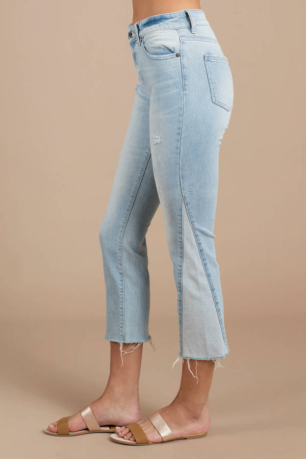 5622aead3ebe Blue Pants - 2 Tone Jeans - Blue Destroyed Ankle Jeans - C$ 106 ...