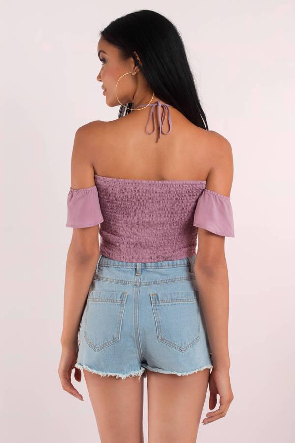 449da8a404081 Cute Lilac Crop Top - Off Shoulder Top - Halter Tie Top -  13