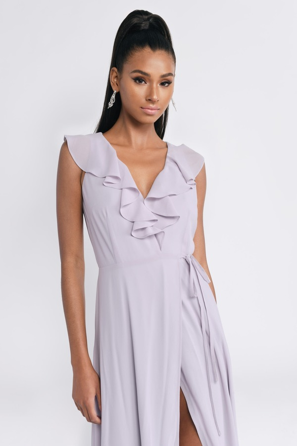 9fb3540765 ... Tobi Wedding Guest Dresses, Lilac, Treasure Me Ruffle Maxi Dress, Tobi