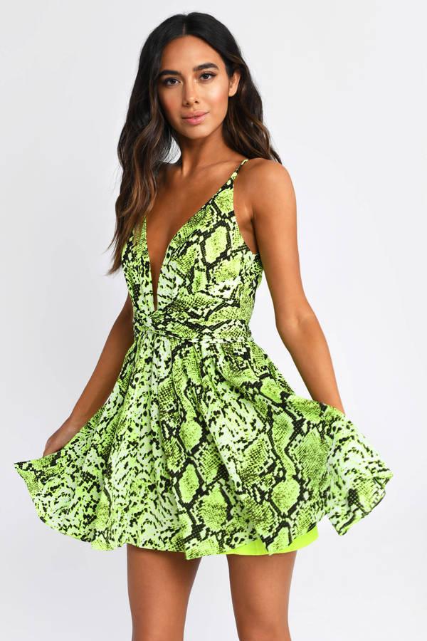 070e6cfcb172 Look At Me Lime Green Snake Print Dress - kr 354 | Tobi DK