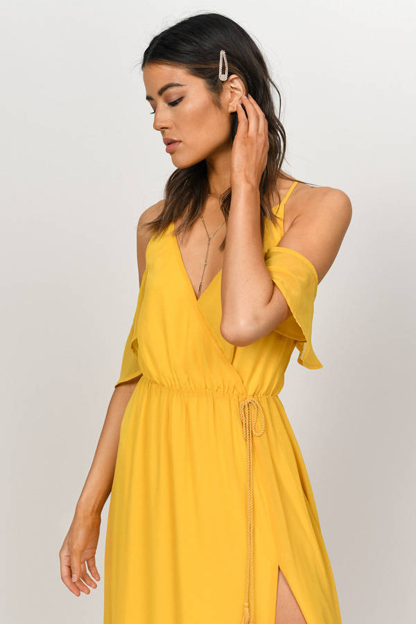 edfdf5c910032 ... Tobi Yellow Dresses, Marigold, Rhythm Cold Shoulder Maxi Dress, Tobi