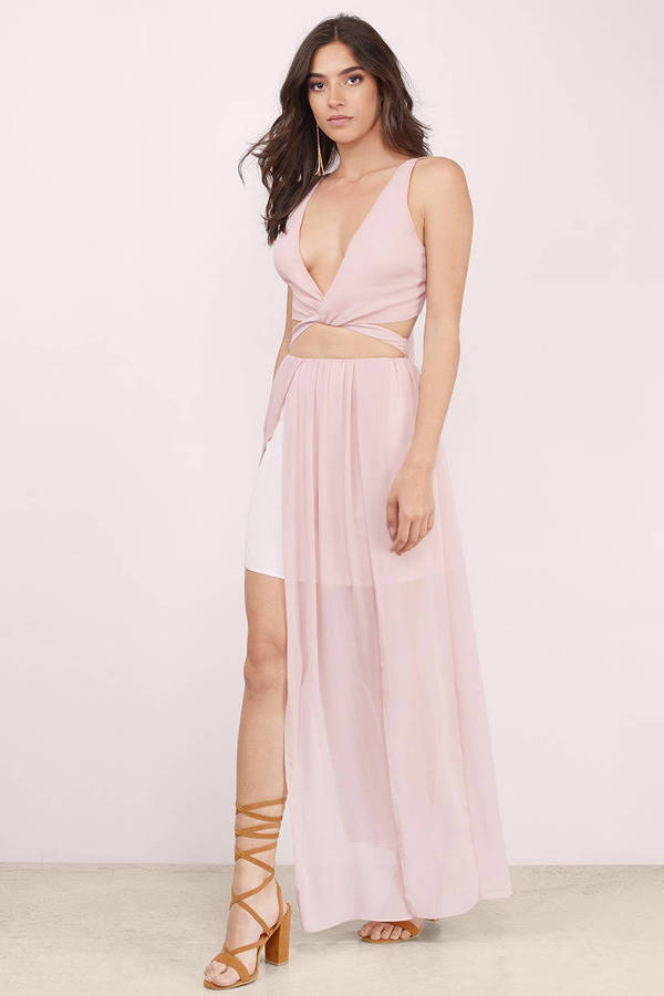 Mauve Dress Cut Out Dress Two Piece Midriff Dress