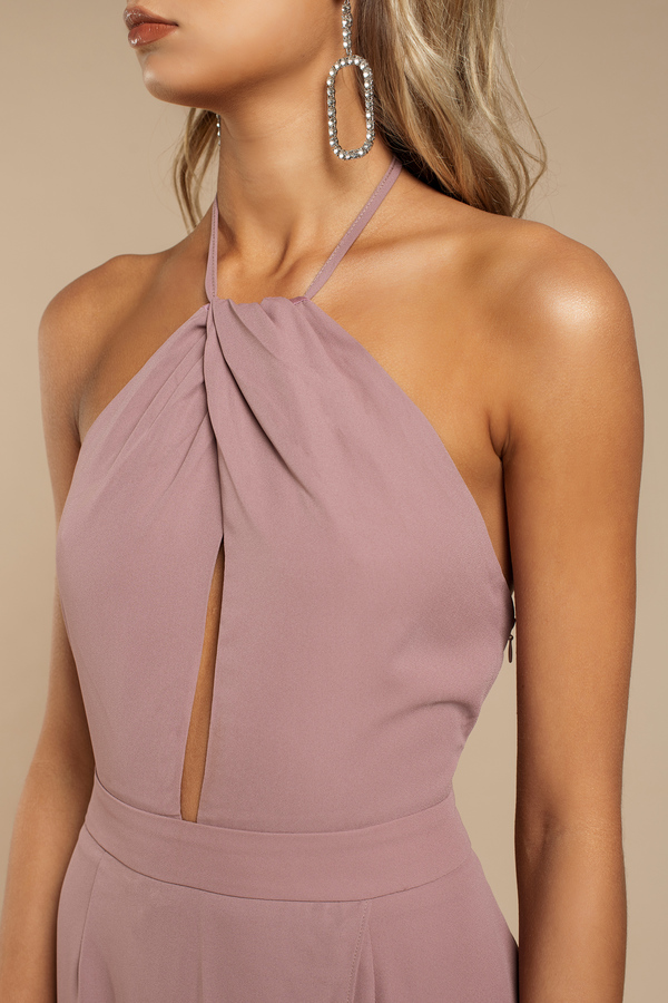 Mauve Dress Keyhole Dress Backless Dress Sleeveless Maxi Dress
