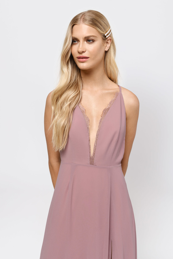 Raelyn High Slit Mauve Maxi Dress