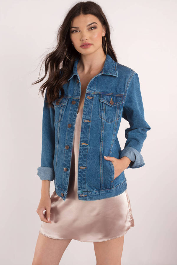 Yeah Bunny Don't Follow Me Medium Wash Denim Jacket - C$ 248 | Tobi CA