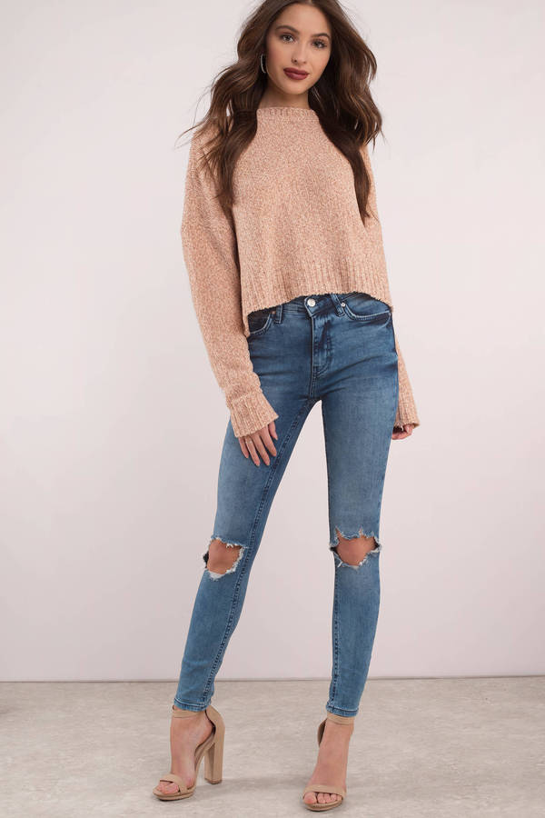 89c1d64c072 ... Free People Free People High Rise Medium Wash Busted Skinny Jeans ...