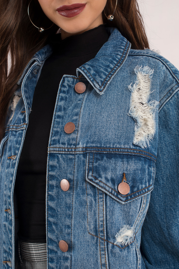 a942649ca7f1 Imperial Medium Wash Distressed Oversized Denim Jacket Imperial Medium Wash  Distressed Oversized Denim Jacket ...