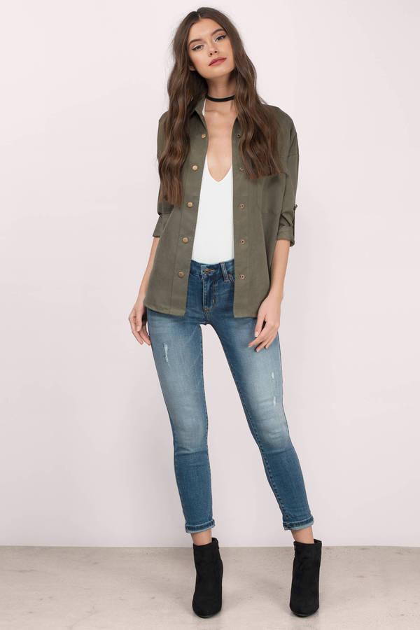 Skinny Jeans, Tobi, Medium Wash Jackie Skinny Mid Rise Jeans