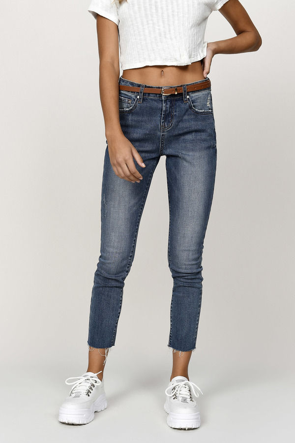 7bf6d4ef65f2fd Blue Jeans - High Waisted Casual Jeans - Ankle Crop Blue Jeans -  30 ...