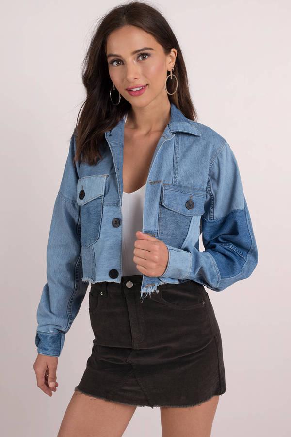 21c6e941e27 ... Denim Jackets, Medium Wash, Vintage Patchwork Denim Cropped Jacket
