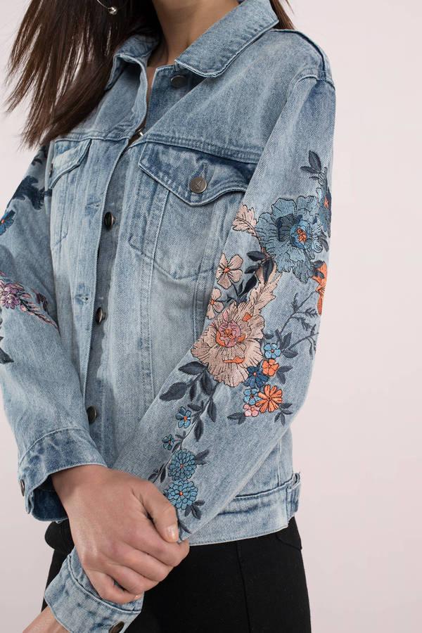 Blue Minkpink Jacket - Floral Embroidered Jacket - Blue ...